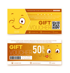 gift vouchers happy smile coupon promo code vector image