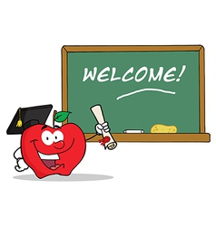 Graduate Apple Character Holding A Diploma vector image