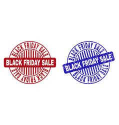 Grunge black friday sale textured round stamps vector