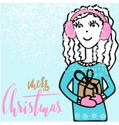 Handdrawn girl holding a gift box with handwritten vector