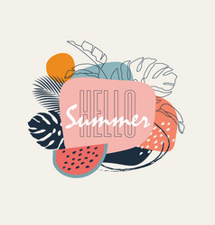 hello summer abstract trendy pastel colored vector image