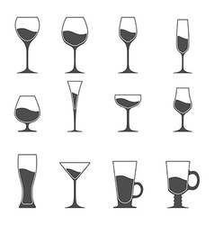 Icon set of utensil wine beer martini whiskey vector
