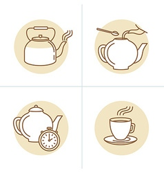 in trendy linear style - tea infusion instru vector image