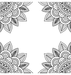 Indian floral frame for coloring pages book vector image