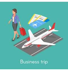 Isometric 3d concept of business trip vector