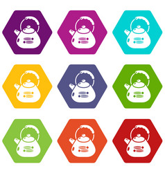 kettle metal icons set 9 vector image