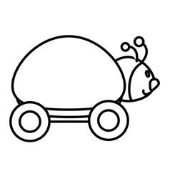 Ladybug with wheels icon vector