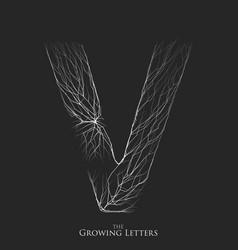 Letter v of branch or cracked alphabet v vector
