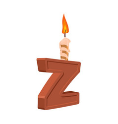 letter z birthday font letter and candle vector image