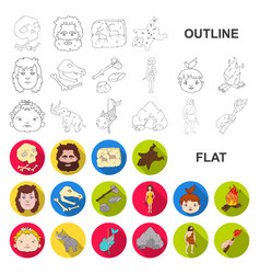 Life in the stone age flat icons in set collection vector