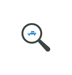 magnifying glass icon car icon vector image