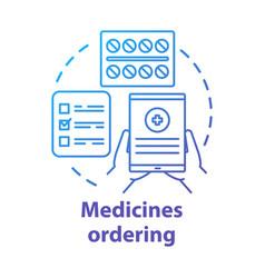 Medicines ordering service concept icon medical vector
