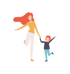 mother and son running holding hands young woman vector image