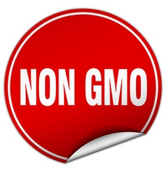 Non gmo round red sticker isolated on white vector