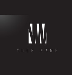 Nw letter logo with black and white negative vector