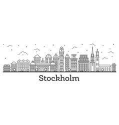 Outline stockholm sweden city skyline with vector