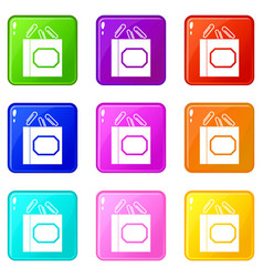 paper clips box icons 9 set vector image