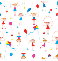 Pattern of the playful little girls vector