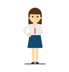 Pensive young woman in uniform character vector