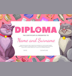 Pet care diploma cat and kitten certificate vector
