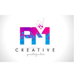 Pm p l letter logo with shattered broken blue vector