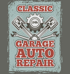 retro poster of automobile theme with vector image