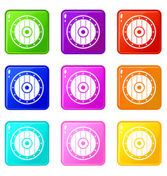 Round army shield set 9 vector