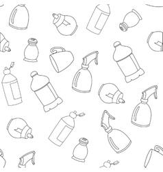 Seamless line kitchen elements pattern vector image
