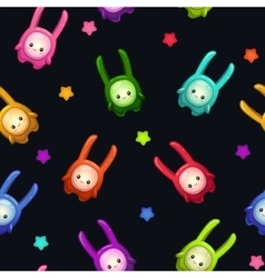 Seamless pattern with cute cartoon colorful aliens vector
