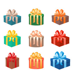 set of christmas gifts boxes in holiday packages vector image