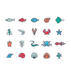 set of fish and sea food colored line icons vector image