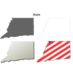 Shasta county california outline map set vector