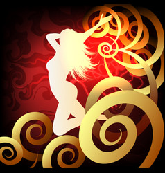 silhouette runnig woman on fantasy background vector image
