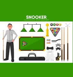 Snooker billiards sport equipment pool player vector