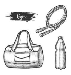 sport exercise items sketches gym equipment vector image