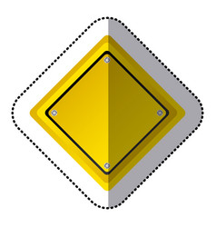Sticker yellow diamond shape traffic sign icon vector