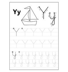 Tracing alphabet letter y black and white vector