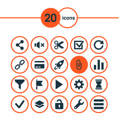 user icons set with cut goal list and other vector image