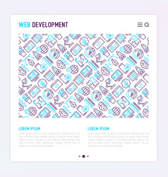 Web development concept with thin line icons vector