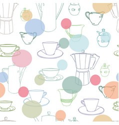 White pattern with cup and coffee pot vector