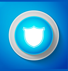 white shield icon on blue background guard sign vector image