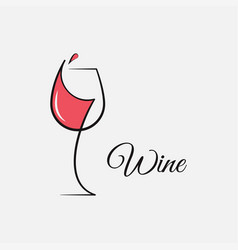 wine glass logo on white and red background vector image