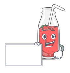 With board strawberry smoothie character cartoon vector