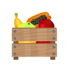 Wooden box full of fresh fruits ripe pomelo vector