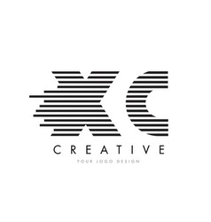 xc x c zebra letter logo design with black and vector image