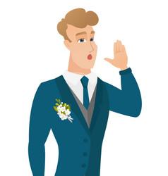 Young caucasian groom calling for help vector