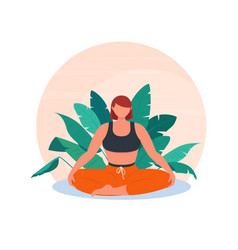 Young woman sits in lotus position vector