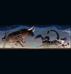 Zodiacal battle between taurus and scorpio vector