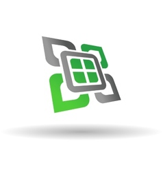 Abstract green and grey symbol vector