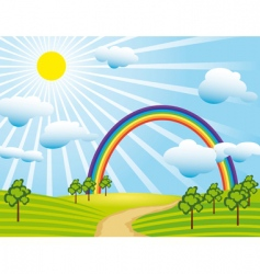 field road and a rainbow vector image vector image